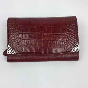 Brighton Large Red Leather Wallet w/ Strap